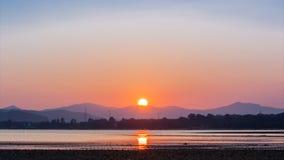 Sunset at beach on twilight time stock footage