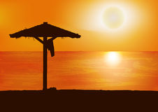 Sunset on the beach. Vector background. Stock Image