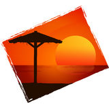 Sunset on the beach. Vector background. Royalty Free Stock Photography