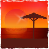 Sunset on the beach. Vector background. Stock Photography