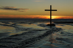 Sunset Beach Waters Cross Stock Images