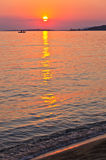 Sunset on beach at west coast of Sithonia Royalty Free Stock Images