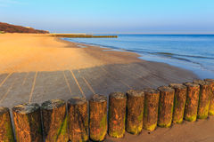Sunset on the beach with a wooden breakwater Stock Photography