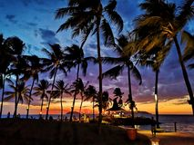 Sunset in beach royalty free stock photos