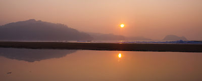 Sunset on the beach of Zarautz, Gipuzkoa Coast Royalty Free Stock Photos