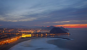 Sunset on the Beach Zurriola in Donostia Royalty Free Stock Images
