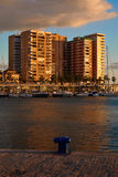 Sunset at the beachfront in Malaga Stock Photography