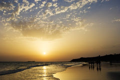 Sunset on the beah of La Barrosa Royalty Free Stock Photo