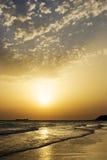 Sunset on the beah of La Barrosa Stock Photography