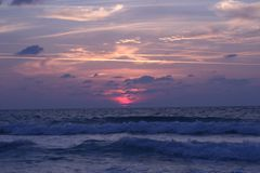 A sunset. A beatiful sunset on atlit beach Royalty Free Stock Photography