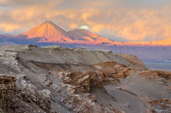 Sunset in the beautiful Atacama desert, San Pedro de Atacama Royalty Free Stock Photo