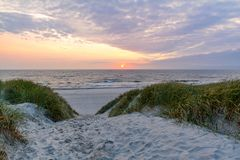 Sunset at beautiful beach with sand dune landscape near Henne Strand, Jutland Denmark. Europe royalty free stock image