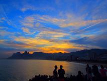 Sunset. Beautiful sunset in Brazil. Rio de Janeiro Royalty Free Stock Photography