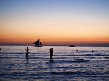 Sunset. Beautiful sunset  at Broacary. One sailing boat sailing in the sea Royalty Free Stock Images
