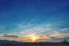 Sunset with beautiful cloudscape Royalty Free Stock Photo