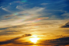 Sunset with beautiful cloudscape Royalty Free Stock Images