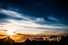 Sunset. A beautiful sunset with a cloudy sky Royalty Free Stock Images