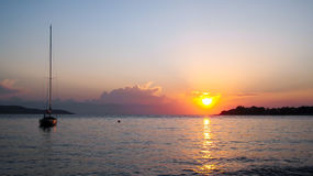 Sunset. Beautiful sunset in Greece with clouds adding a touch on the photo stock images