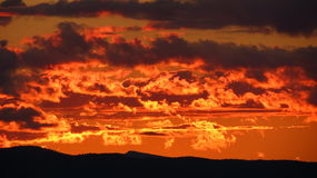 Sunset. Beautiful sunset just after the sun drops below the mountain Stock Photography