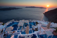Sunset and beautiful mediterranean sea in Santorini Royalty Free Stock Photography