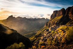 Sunset. A beautiful sunset with a mountain landscape Stock Images