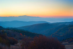 Sunset in the beautiful mountains Stock Photography
