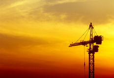 Sunset. Beautiful orange sunset over a construction site Royalty Free Stock Image