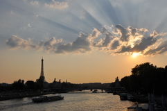 Sunset. Beautiful sunset over the Eiffel Tower in Paris stock photo