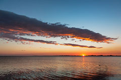 Sunset. Beautiful sunset over water in Aveiro, Portugal royalty free stock photography
