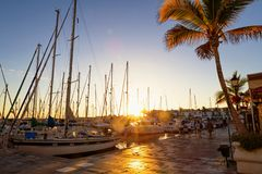 Sunset in beautiful Puerto de Mogan royalty free stock image