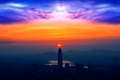 Sunset and beautiful sky at Lotte world mall in Seoul, Kore Royalty Free Stock Photography