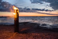 Sunset, beautiful sky on the sea. fire. Sunset, beautiful sky on the sea, Poland. Vistula Lagoon stock photo