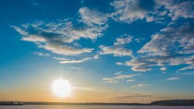 Sunset beautiful summer landscape with cloudy sky and natural lake, time-lapses.  stock video