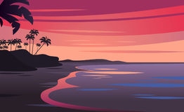 Sunset on beautiful tropical seascape. Sunset on the ocean background, vector illustration Stock Image