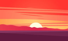 Sunset on beautiful tropical seascape vector illustration Royalty Free Stock Images