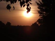 Sunset. Beautiful sunset in ukrainian village royalty free stock photography