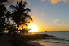 Sunset. A beautiful view of sunset in one of beautiful beaches in Antigua and Barbuda Royalty Free Stock Photos
