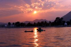 Sunset. Beautiful view of sunset over the fateh sagar lake udaipur rajasthan india. in 1687 maharana jai singh first constructed the lake stock photos