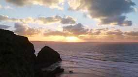 Sunset at Bedruthan Steps, Cornwall stock video footage