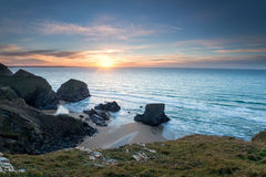 Sunset at Bedruthan Steps Royalty Free Stock Photos