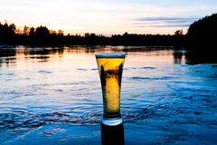 Sunset beer Stock Image