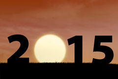 Sunset in the beginning year of 2015 Stock Image