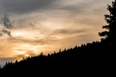 Sunset behid the hill. Orange sunset behid the hill with part of tree Royalty Free Stock Image