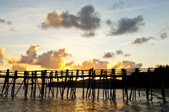 Sunset behide jetty Royalty Free Stock Photo