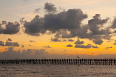 Sunset behide jetty Royalty Free Stock Images