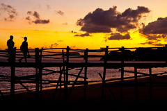Sunset behide jetty Stock Images