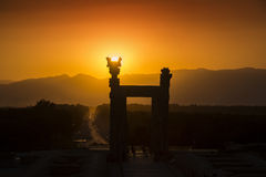 Sunset behind the ancient city of Persepolis in Iran Royalty Free Stock Image