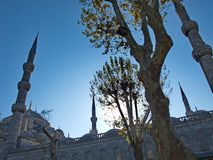 Sunset behind the Blue Mosque in Instanbul Royalty Free Stock Photos