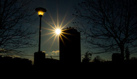 Sunset behind building in Belgrade. Serbia Royalty Free Stock Photos