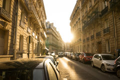 Sunset behind a building on a Parisian street stock images